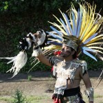 """Yacachitoltic, or """"Hawk Face"""", performs an Aztec blessing ceremony"""